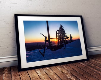 Sunrise on the Single Chair  Mad River Glen Vermont, Large Poster Giclée Print, Ski Vermont, Stark Mountain Fayston Vermont, Green Mountains