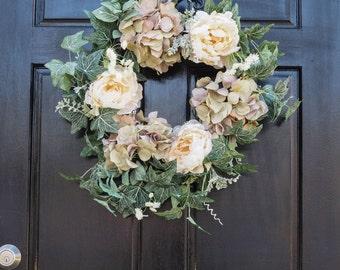 Large white flower wreath, cream flowers, green wreath, taupe flower wreath,
