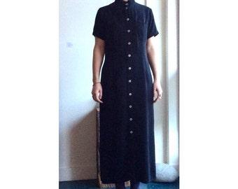 Mandarin collar maxi dress. Black shirt dress. Size S/M.