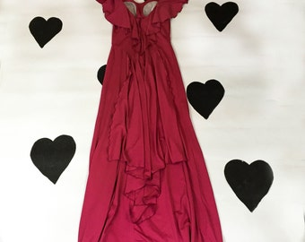 70's disco maxi dress 1970's ruffled open back fuchsia party dress / Studio 54 / Scarface / Prom / Cha Cha / Silky Polyester / Gown / small