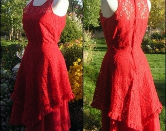 Vintage Lace Dress 50s 60s Fancy & Full - Picnic or Party Lady in Red Costume - Small - VLV
