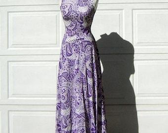 Purple Psychedelic Print Maxi Dress Vintage 70s Sparkly Lurex Paisley Daisy Pop Art - S XS