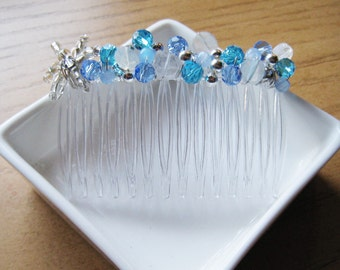 Beaded Hair Comb - FROZEN Theme Elsa Snowflake Design
