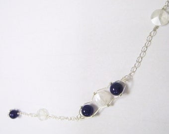 Rainbow Moonstone and Aventurine Bracelet - with Sterling Silver - CAMILLE