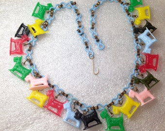 Vintage multi colors celluloid early plastic scotty dogs necklace
