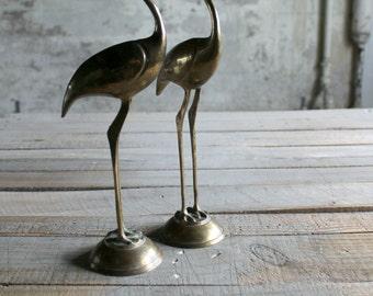 Pair of Vintage Brass Cranes