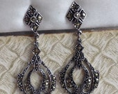 Vintage Art Deco Marcasite Drop Earrings