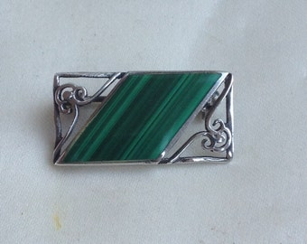 Vintage Art Deco style Silver Malachite Brooch