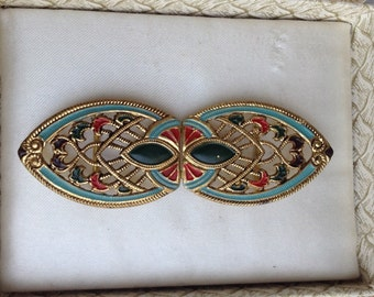 Vintage Art Deco Egyptian Revival Enamel Buckle