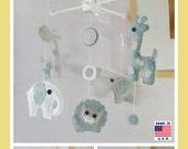 Baby Crib Mobile, Elephant Mobile, Giraffe Mobile, Lion Mobile, Modern Mobile, Polka Dot London fog Gray White theme