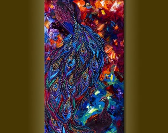 Modern Animal Peacock Oil Painting Textured Palette Knife Contemporary Original Art 20X40 by Willson Lau