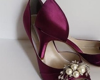 Burgundy Wedding Shoes Burgundy Bridal Shoes with Pearl and Crystal Cascade Brooch Design Over 100 Custom Color Choices Wedding Shoes
