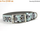 ON SALE Dog Collar with Metal Buckle- Mint Green and Grey Chevron Stripe