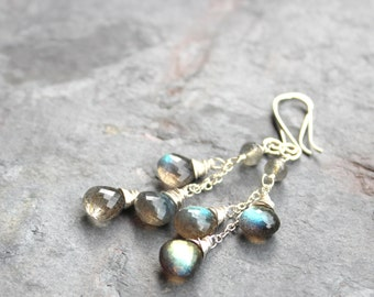 Labradorite Earrings Cascade Gemstone Earrings Sterling Silver long Gray Briolette Earrings