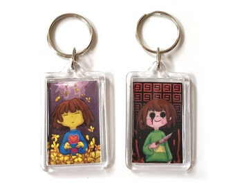 Frisk and Chara Double Sided Undertale Keychain