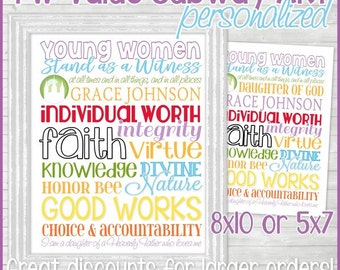 Personalized YW Values Subway Art, LDS Young Women Print, Personal Progress Gift, Birthday Gift, YW Printable - Instant Download