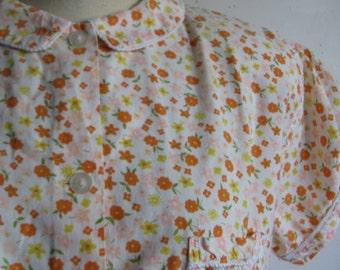 Orange Flower Pajamas Vintage 70s 2 pc Pajama Orange White Yellow Floral Cotton 70s Sleep Wear Night Wear Medium