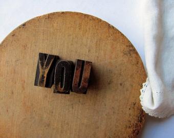 Vintage Letterpress YOU Valentine Day Printer Block I love YOU Wedding Stamp Engagement Gift Want You Wedding Decor Bride Groom Wood Letter