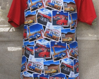 """Route 66 Classic Cars and Gas Stations BBQ Apron 29""""l x 26""""W"""