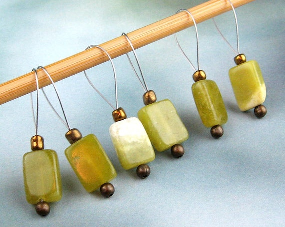 Stitch Markers, Knitting, Agate Beads, Semi-Precious Stones, Jade Tone, Snag Free, Knitters Gift, Jeweled Tool, Knitting Accessory, Supplies