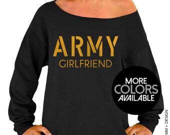 Army Girlfriend Sweatshirt - Black Slouchy Oversized Sweatshirt. Gold. Pink. Silver Ink
