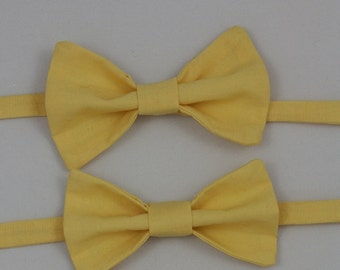 Solid Yellow Clip on Bow Tie - Infant, Toddler, Boys