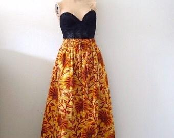 Vintage Ethnic Print Midi Skirt - cotton full skirt