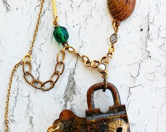 Rusted Lock Nautical Lock and Key Barnackle Seashell Rusted Painted Tone Jewelry Necklace