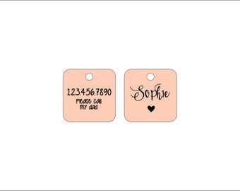 Small Custom Pet ID Tag - Square Dog Tag - Cute - Whimsical - Fun - Pure Copper - High Quality Collar Tag - Rose Gold Color Metal