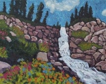 Mountain Waterfall- wildflowers, original oil painting, mountains, green, flowers, trees, snow peaks, landscape, paintingsbyryno