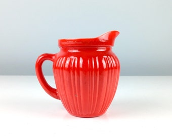 Antique Coffee Creamer, Red Painted Milk Glass Little Pitcher for Cream or Milk, 1940s Milk Glass