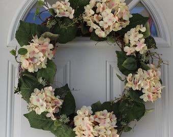 Spring wreath, hydrangea wreath, outdoor door wreath, floral wreath, front door wreath, door wreath, Mother's Day gift, pink hydrangea,