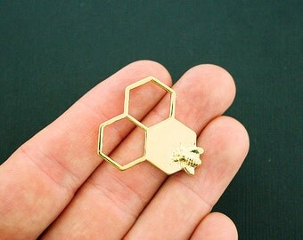 4 Honeycomb Bee Connector Charms Gold Tone - GC946