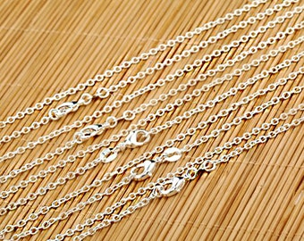 "30"" Sterling Silver Necklace Chain Link Solid .925 with Lobster Clasp - N183"