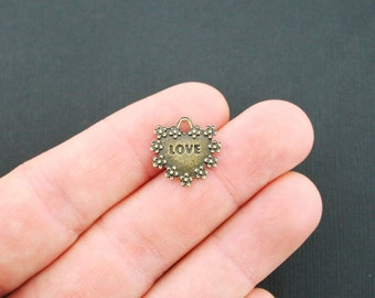 6 Love Heart Charms Antique Bronze Tone 2 Sided Amour - BC562