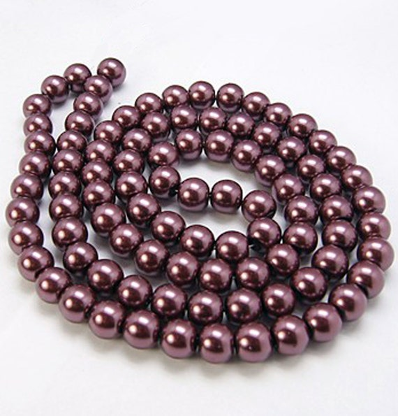 Grey Pearl Beads: 140 Glass Beads 6mm Faux Purple Grey Pearl Strand BD383