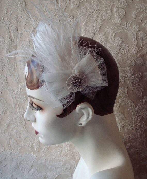 Ivory Satin Bow Wedding Hair Clip  / Feather Fascinator / 1920 Flapper Style  Embellished With Tulle A Wisp Of Feathers And Birdcage Netting