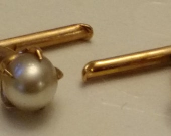 Gold and Pearl Spring Loaded Cuff Links/ Shirt Studs
