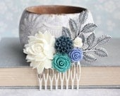 Teal Rose Comb Navy Succulent Style Flowers for Hair Bridal Hair Comb Periwinkle Something Blue Hair Piece Silver Branch Floral Collage Comb