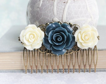 Navy Bridal Hair Comb Dark Blue Rose Floral Collage Comb Ivory Cream Rose Romantic Bridal Symmetrical Design Bridesmaid Gift Vintage Style