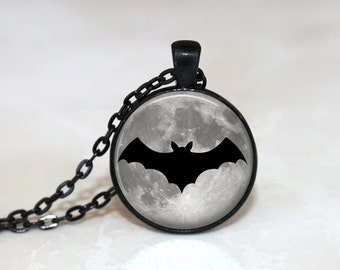 Halloween Necklace GlassTile Necklace Moon Jewelry Glass Tile Jewelry Halloween Jewelry Bat Jewelry Holiday Jewelry Black Jewelry