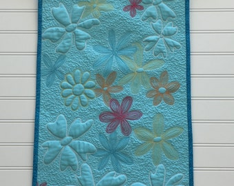 Thread Painted Quilted Flower Wall Hanging Wall Art Quilt