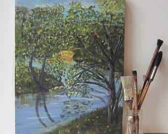 Vintage Tree Landscape Oil Painting