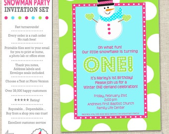 Winter ONEderland Invitation | Winter ONEderland Snowman Party Invitation | Snowman Birthday Printable | Amanda's Parties To Go