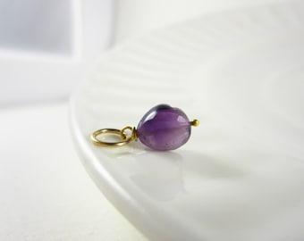 Sale - 14k Gold Necklace Charms - Dark Purple Amethyst Gemstone - Natural Amethyst Jewelry - Faceted Amethyst Pendant - Amethyst Birthstone