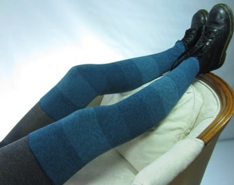 Cashmere Thigh High Boot Socks Teal / Navy Blue Leg Warmers Over the Knee Socks Cotton Blend A1844
