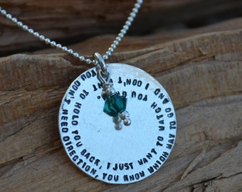 Sale/Clearance - Sterling Silver Disc Necklace with Special Message & Your Choice of Birthstone - graduation gift , birthday gift, daughter