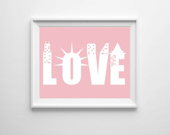 New York Love Art Print , Statue of Liberty Art , Dorm Wall Art , Girl Nursery Art , Bedroom Wall Art , Gallery Wall Art , Custom Colors