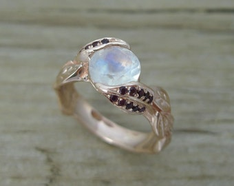 Unique Rose Gold Rainbow Moonstone Ring, Ruby Leaf Ring, Moonstone Engagement Ring With Ruby, Rose Gold Boho Nature Moonstone Leaves Ring