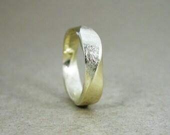 Mobius Wedding band, 5mm Mobius Ring In 14k Gold, Mobius Wedding Ring, Yellow Gold Wedding Band, Mens Scratch Wedding Ring, Gold Mobius Ring